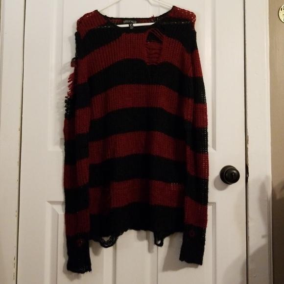 b3ba06345651 Dolls Kill Sweaters - Current Mood Lost Cause striped sweater